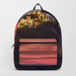 The Alhambra Palace, Cathedral and and Granada at sunset. Winter. Backpack