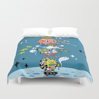 skate Duvet Covers featuring Skate Squad by Frenemy