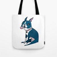 boston terrier Tote Bags featuring Boston Terrier by breakfastjones