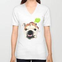english bulldog V-neck T-shirts featuring English Bulldog - F.I.P. - @LucyFarted by PaperTigress