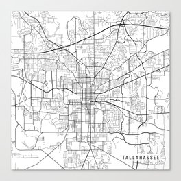 Tallahassee Map, USA - Black and White Canvas Print