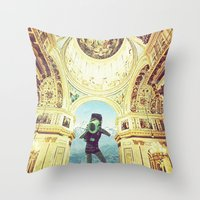 scuba Throw Pillows featuring scuba by Caroline A