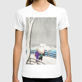 Women walking on Yanagi bridge - Japansese vintage woodblock print art T-shirt