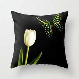 Beautiful butterfly and white tulip flower Throw Pillow