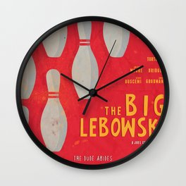 The Big Lebowski - Movie Poster, Coen brothers film, Jeff Bridges, John Turturro, bowling Wall Clock