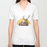 stag V-neck T-shirts featuring Stag by Meredith Mackworth-Praed