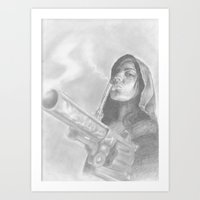 guns Art Prints featuring smoking guns by dougtattoosbabies