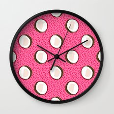 Coconuts memphis pattern retro 80s throwback style classic tropical summer vibes Wall Clock
