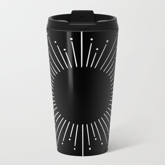 Sunburst Moonlight Silver on Black Metal Travel Mug
