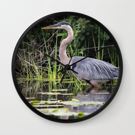 Heron pose in the channel Wall Clock