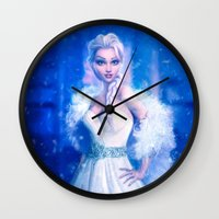 frozen elsa Wall Clocks featuring Elsa by Joe Roberts