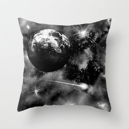 Alien planet black and grey Throw Pillow