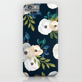 Midnight Florals - Blue & Cream iPhone Case