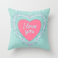 pink heart with love Throw Pillow