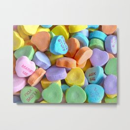 Colorful Candy Hearts Metal Print