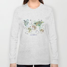 Cartoon animal world map for children and kids, Animals from all over the world back to school Long Sleeve T-shirt