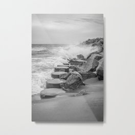 Rocks on the Sea Wall at Fort Fisher NC Sepia Black and White Metal Print