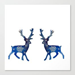 Winter Deer Snowflakes Canvas Print