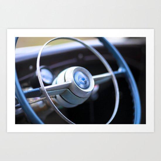 Chevy Truck  - Steering wheel in Blue Art Print