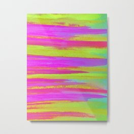 DISCO FEVER - Bright Neon Green Pink Funky Dance 70s Retro Stripes Abstract Watercolor Painting Metal Print