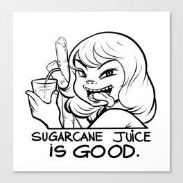Lady sugarcane drink in Saigon Canvas Print