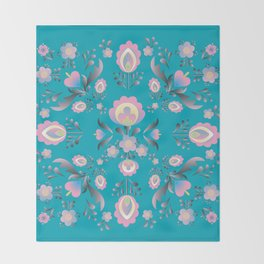 Dusty Blue Folk Flowers Throw Blanket