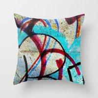 grafitti Throw Pillows featuring New grafitti design by Sw19Gallery