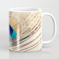 peacock feather Mugs featuring Peacock Feather  by Laura Ruth