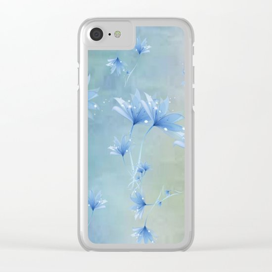 Fantasy Floating Blue Flowers Abstract Clear iPhone Case