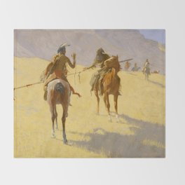 "Frederic Remington Western Art ""The Parley"" Throw Blanket"