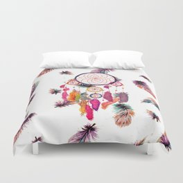 Hipster Watercolor Dreamcatcher Feathers Pattern Duvet Cover