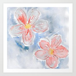 Modern hand painted coral blue watercolor flowers Art Print