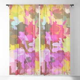 Winterberry #painting #colorful Sheer Curtain