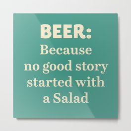 Beer illustration quote, vintage Pub sign, Restaurant, fine art, mancave, food, drink, private club Metal Print