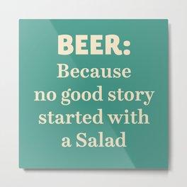 Beer illustration quote, vintage Pub sign, Restaurant, fine art, mancave, food, drink, private club Metal Print