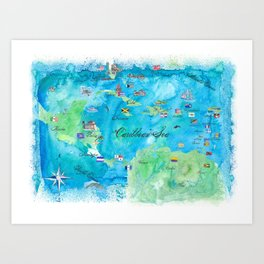 Caribbean Cruise Travel Poster Map Antilles West Indies Cuba Florida Art Print