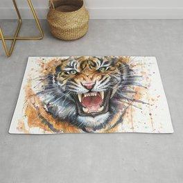 Tiger Roaring Wild Jungle Animal Rug