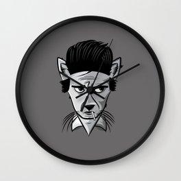 Cat in Black Wall Clock