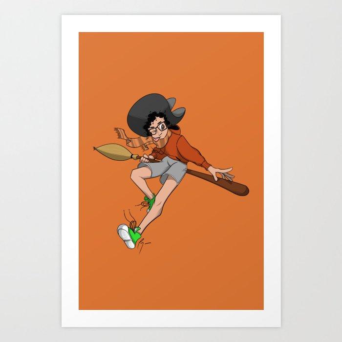 Sporty Witch Art Print