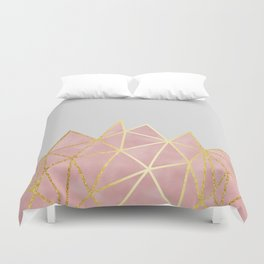 Pink & Gold Geometric Duvet Cover