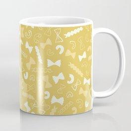 Vintage Kitchen Pasta Tossed Pattern / Yellow Coffee Mug