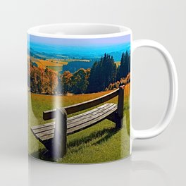 Summertime scenery and the bench to watch it Coffee Mug