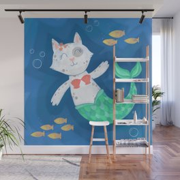 Mermaid Cat Wall Mural