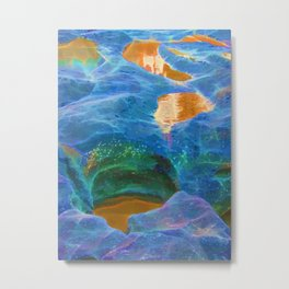 Abstract beautiful rock pools in the late afternoon Metal Print