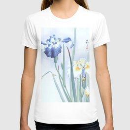 Bee And Blue Iris Flowers - Vintage Japanese Woodblock Print Art By Ohara koson T-shirt