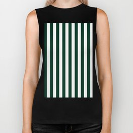 Narrow Vertical Stripes - White and Deep Green Biker Tank
