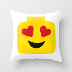 Heart Eyes - Emoji Minifigure Painting Throw Pillow