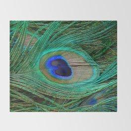 Peacock Feather Macro Design Throw Blanket
