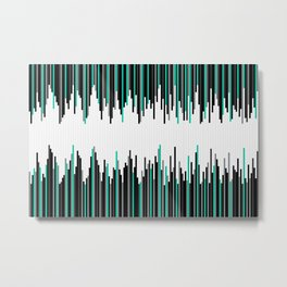 Frequency Line, Vertical Staggered Black, Gray & Teal Line Digital Illustration Metal Print