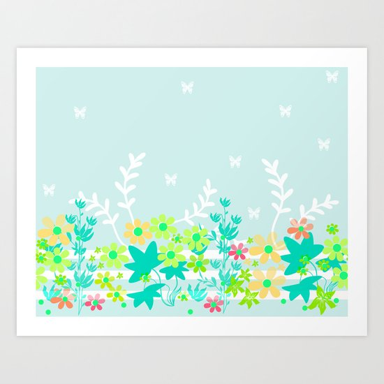 Turquoise floral pattern . Colorful floral background . Art Print
